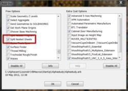 Alphacam nesting, turn off numbers?