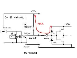 How to wire output of rpm hall sensor to two different