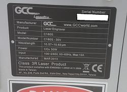 Synrad Firestar V30 and parts from GCC LaserPro C180 for sale-c180-sign-png