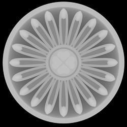 Gray scale height map for pattern-flower-rosette-w_hearts-center-jpg